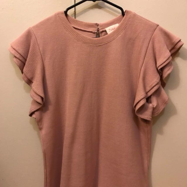 Anthropologie Pink Frilled Top