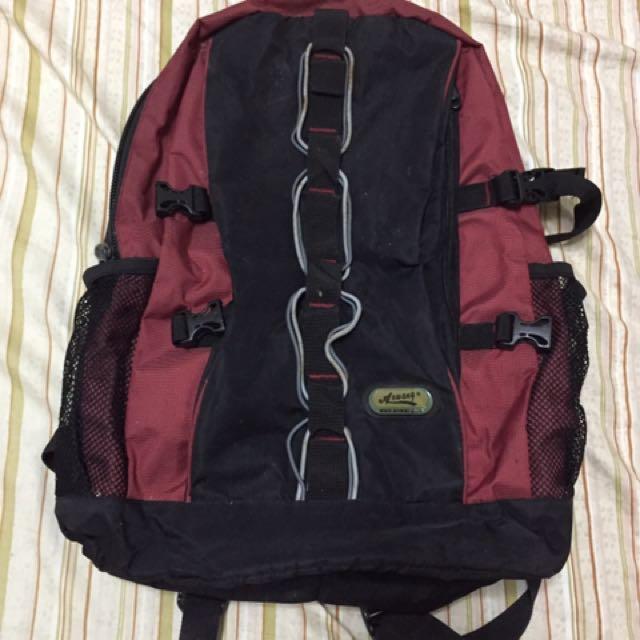 正版Aowang大容量排扣後背包 暗紅黑色