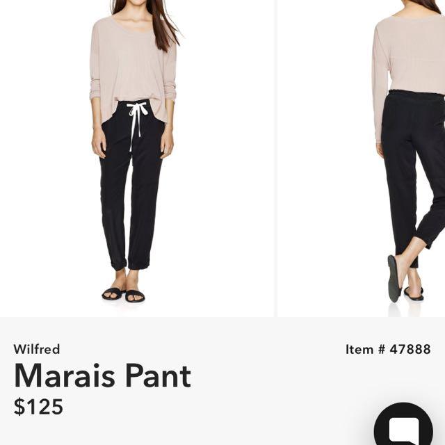 Aritzia Wilfred marais pants black