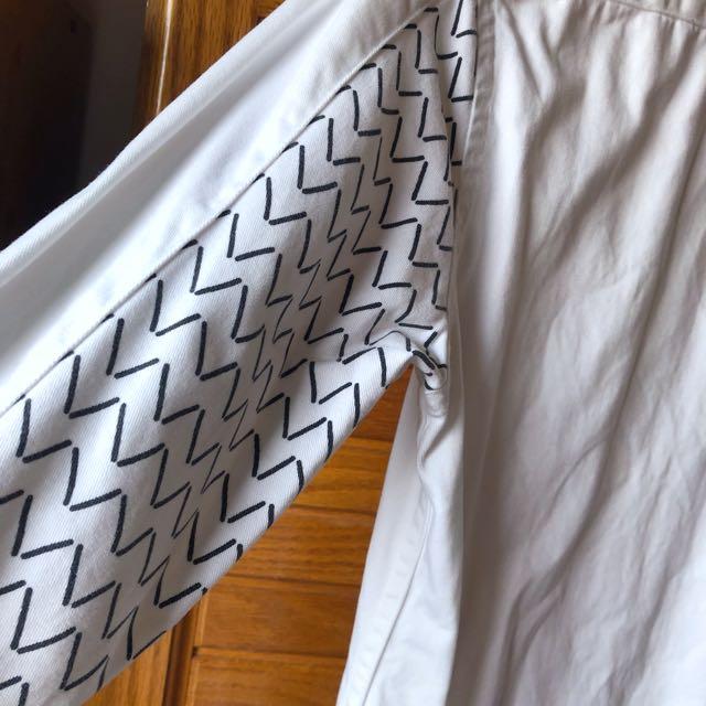 asos 白 厚棉 襯衫 拼接袖