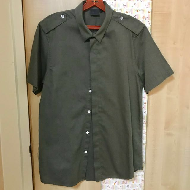 ASOS short-sleeved shirt navy green