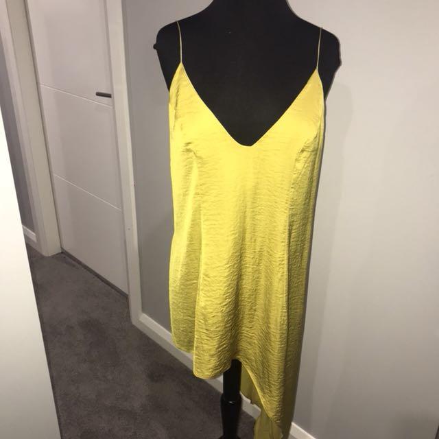 ASOS Silk Asymmetrical Singlet Mustardy-Gold