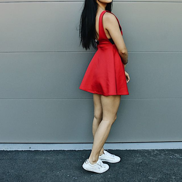 Backless red flowy dress skater style