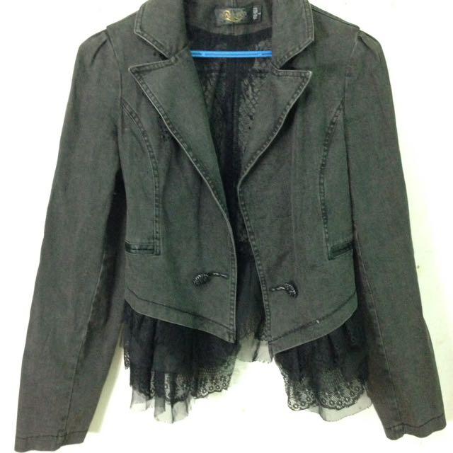 Black Denim Blazer with Lace