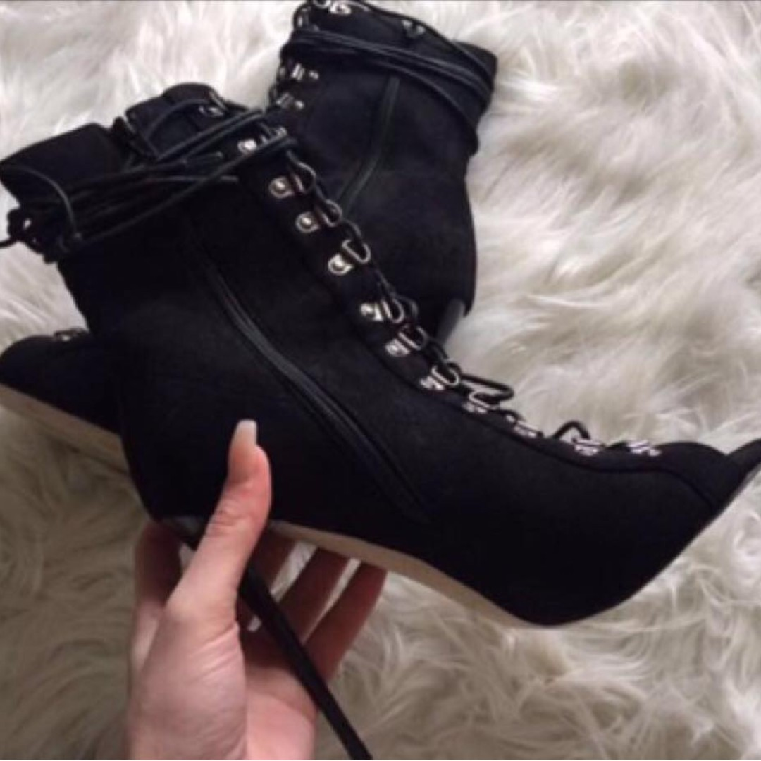 Black Lace Up Boot Heels