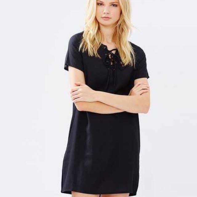 Black Lace-up Dress