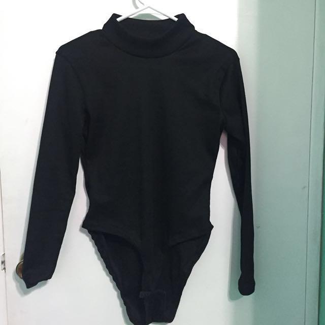 Black Mock Neck Bodysuit