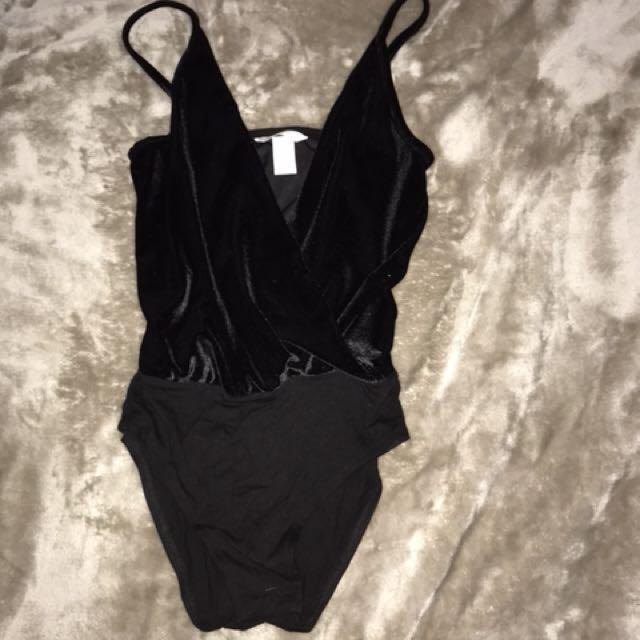 Black velvet bodysuit