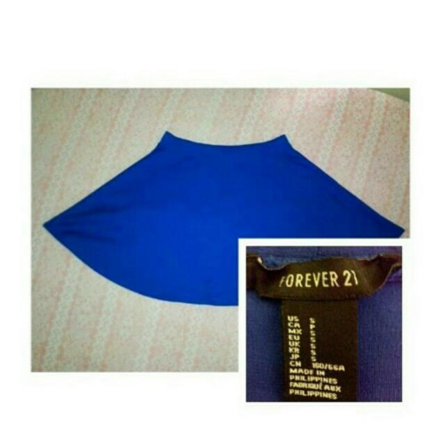 Blue F21 Skater Skirt
