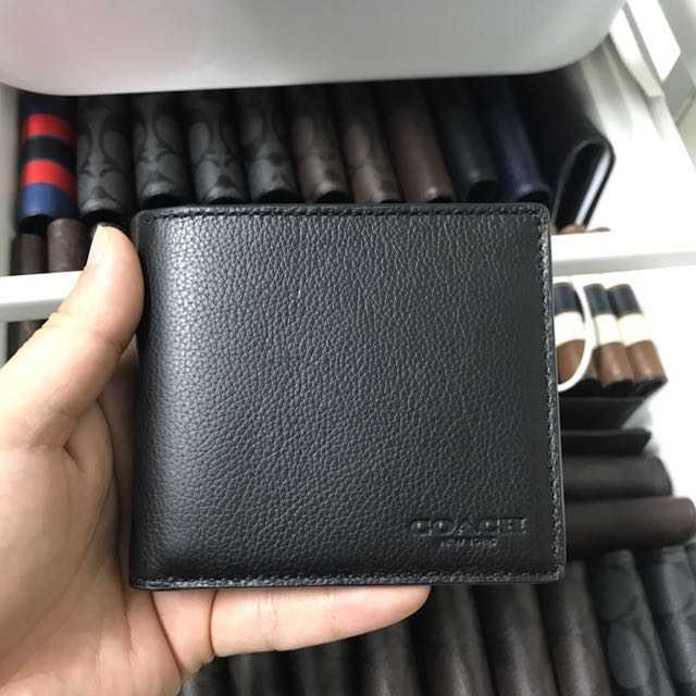 ac949121213c ... italy bnwt authentic coach double billfold wallet in sport calf leather  black f75084 mens fashion bags