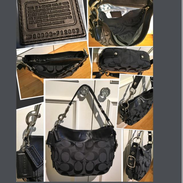 ***Brand New black Coach Signature fabric & leather hobo style handbags. I Silver metal hardware including buckles on sides. Large, roomy handbag and so chic!