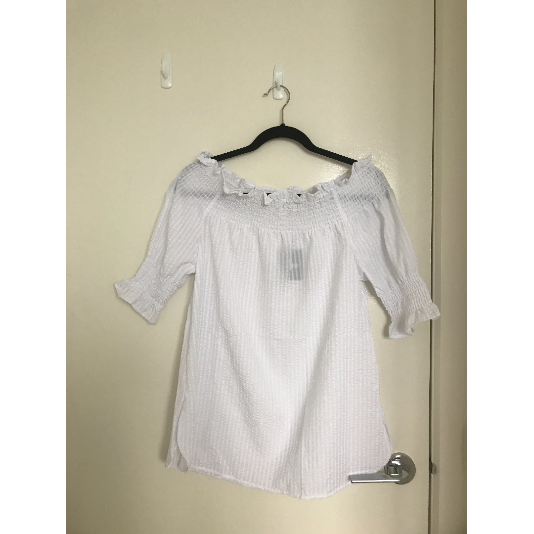 Brand New MRP White Off Shoulder Top Size 8