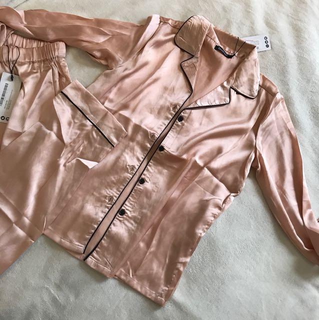 Brand new rose gold satin Pyjama set