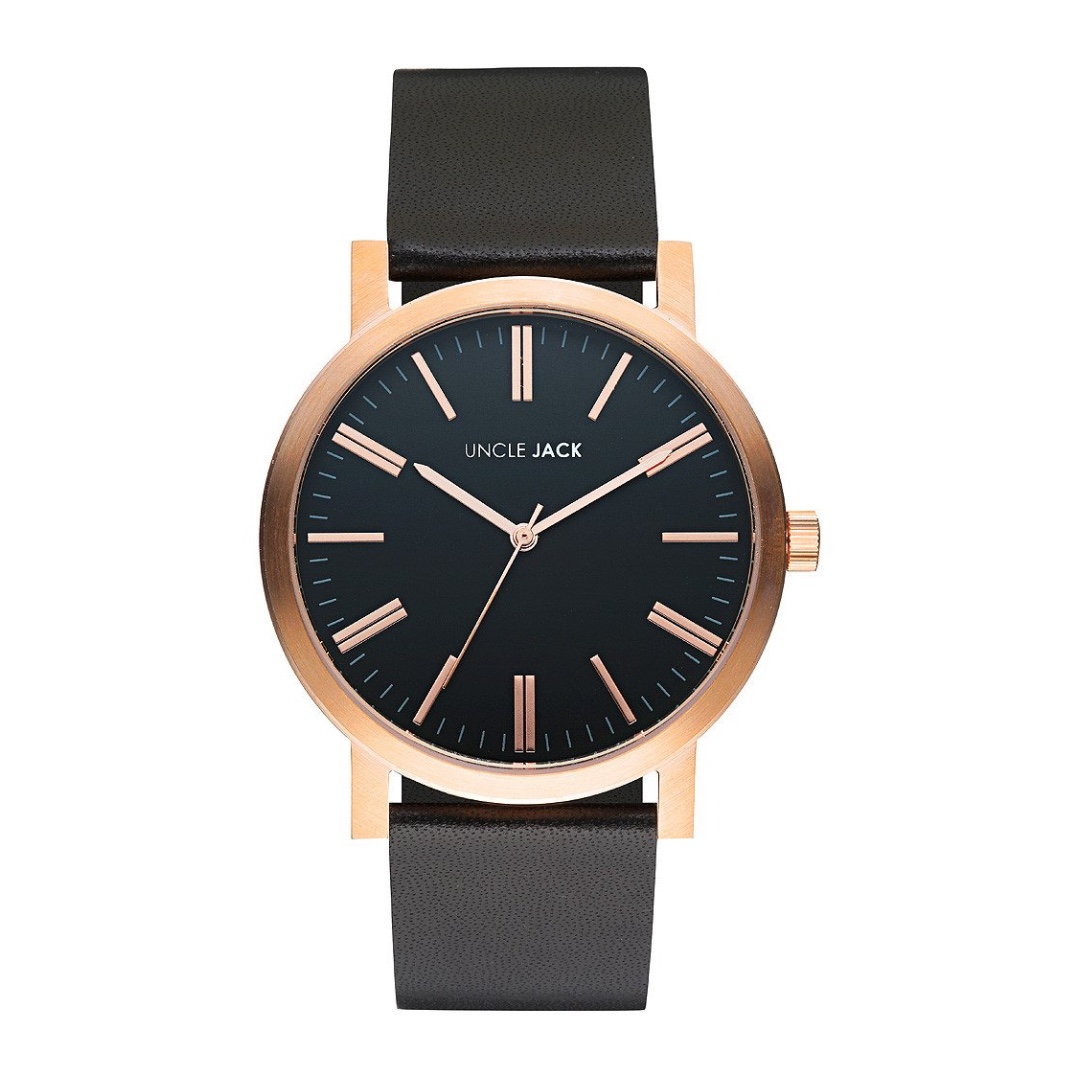 Brand New Unisex Uncle Jack Rose Gold Black Leather Band 42mm Watch RRP $120