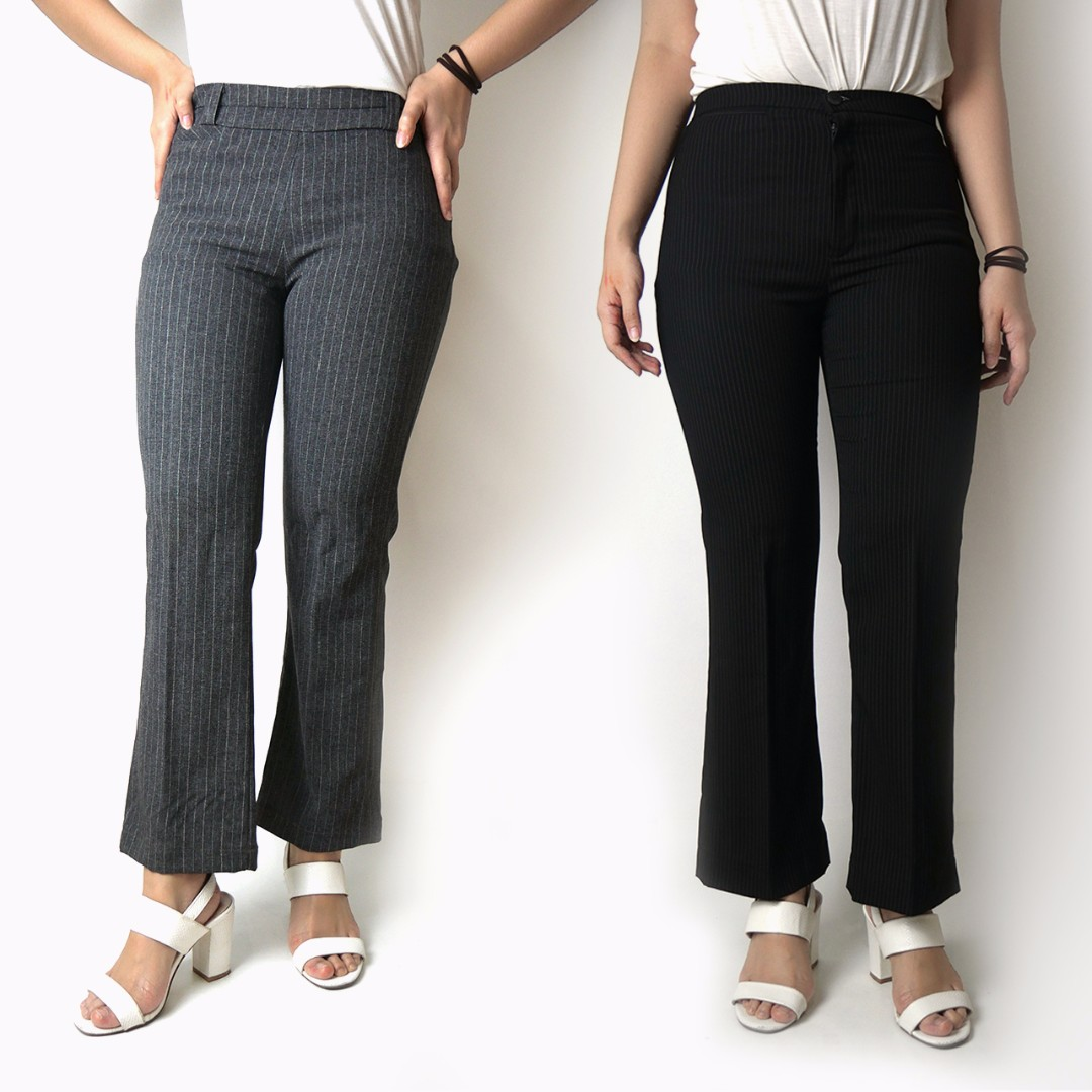 BUNDLE Gray Office Wear Slacks with White Stripes & Black Office Wear Slacks with White Stripes