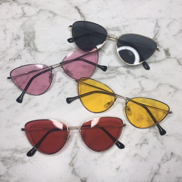 Cat eye sunglasses UV400 metal frame PINK