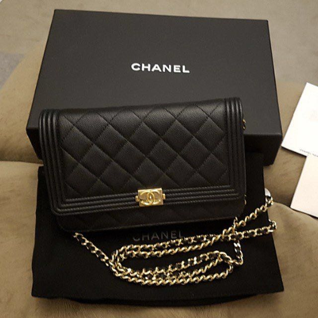 Chanel Boy Caviar WOC Wallet on Chain Bag Black Gold HW  receipt ... 89a9b1a86