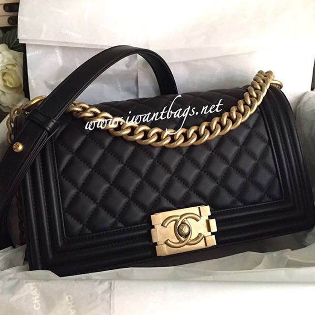 b7c032d04a37 Chanel Boy Old Medium Calfskin Black-Matte Gold Hardware, Luxury, Bags &  Wallets on Carousell