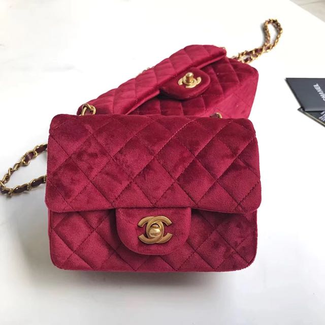 a7b7d76862a178 Chanel Classic Velvet Mini Flap Bag, Luxury, Bags & Wallets on Carousell