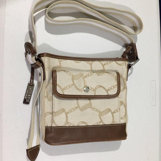 Chaps Tan & Brown Canvas Sling Bag