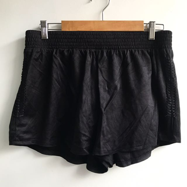 Chica-booti black suede shorts