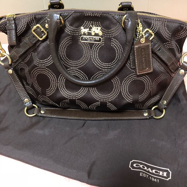d4753f5270 ... leather satchel authentic 3bf4e a4bb2  low cost coach madison dotted op  art sophia bag womens fashion bags wallets on carousell cfa45