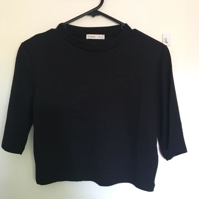 COTTON ON High Neck Cropped Knitted Top