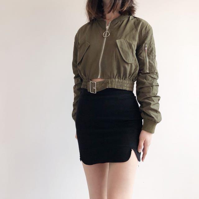 Cropped bomber jacket with belt