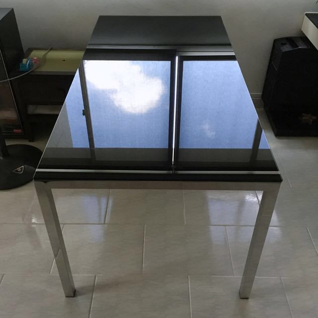Dining Table Glass Top Stainless Steel Legs Furniture Tables Chairs On Carousell
