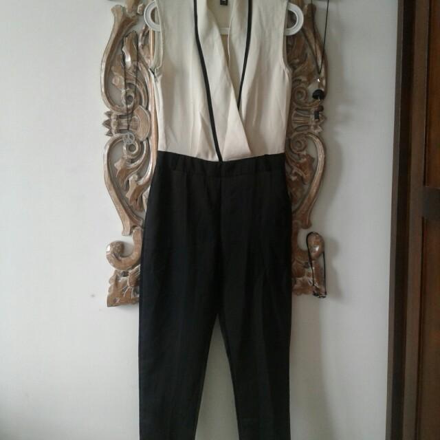 Disc. 5k+ free ongkir Kimono jumpsuit black & white