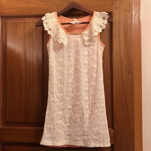Dress lace orange slim