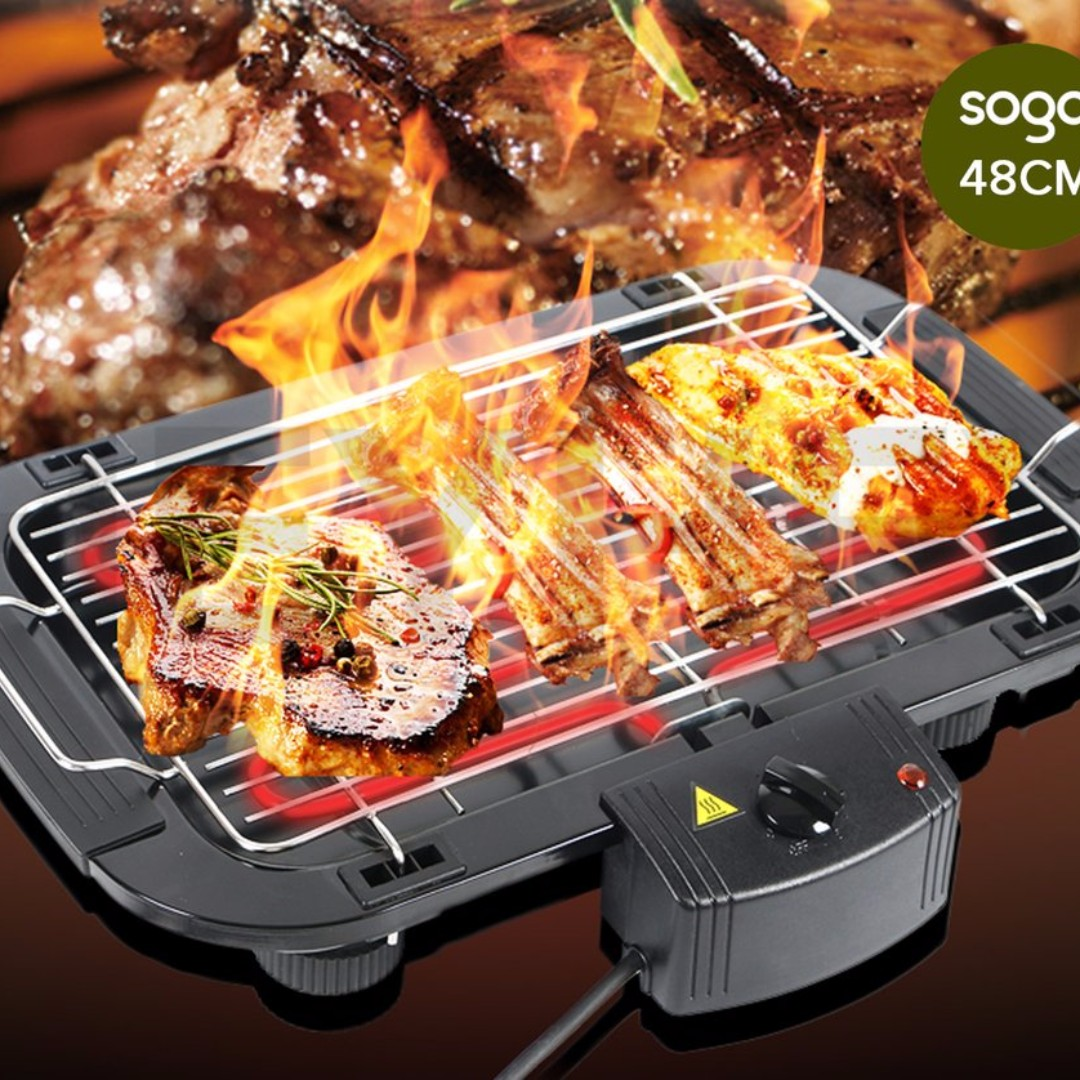Electric BBQ Grill Teppanyaki Plate Non-stick Surface Hot Plate Kitchen 3-5 Per