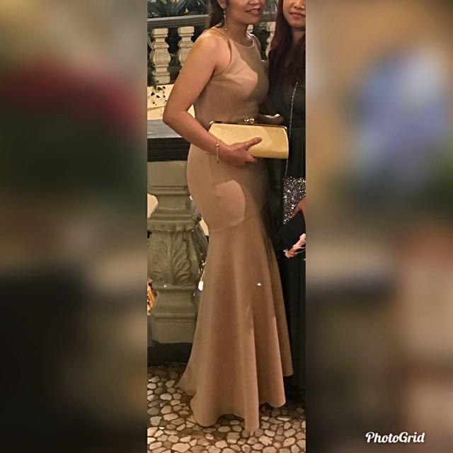 Elegant Beige Mermaid Long Dress
