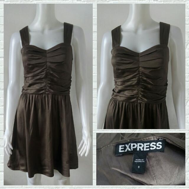 Express Brown Silky Party Dress