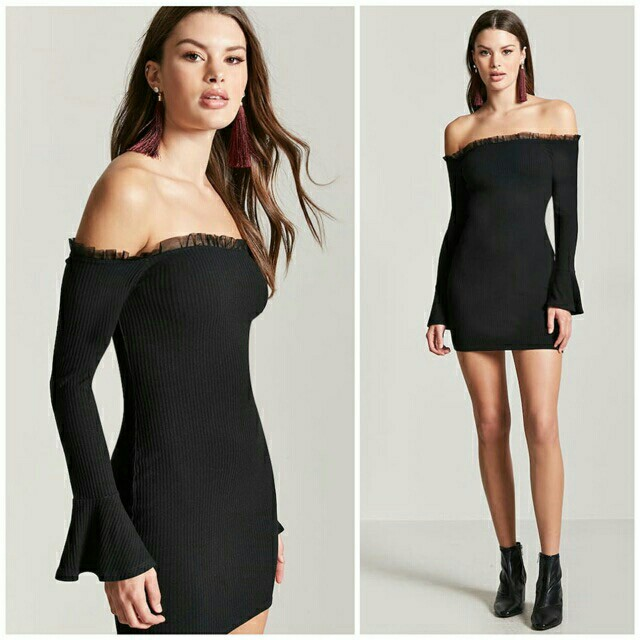 F21 Ribbed Bell Sleeve Dress