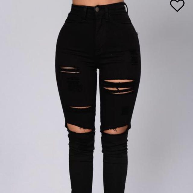 fashion nova ripped jeans black