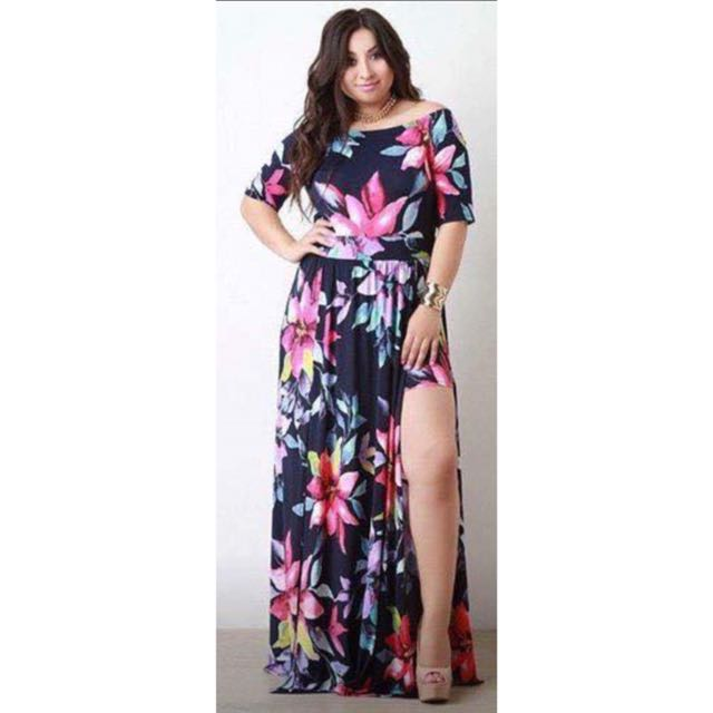 Floral Maxi Dress with Side Slits