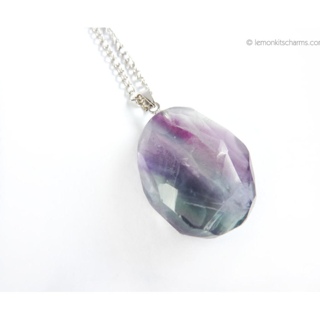 Fluorite Nugget Gemstone Pendant Necklace, nk1022-c