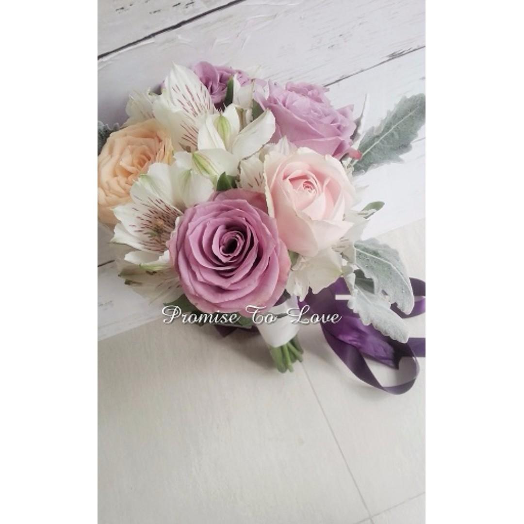 Fresh purple roses mixed flowers hand bouquet wedding rom photo photo photo izmirmasajfo Choice Image