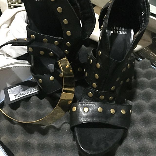 gladiator style angkle boots with gold stud by stuart weirtzman- Re price