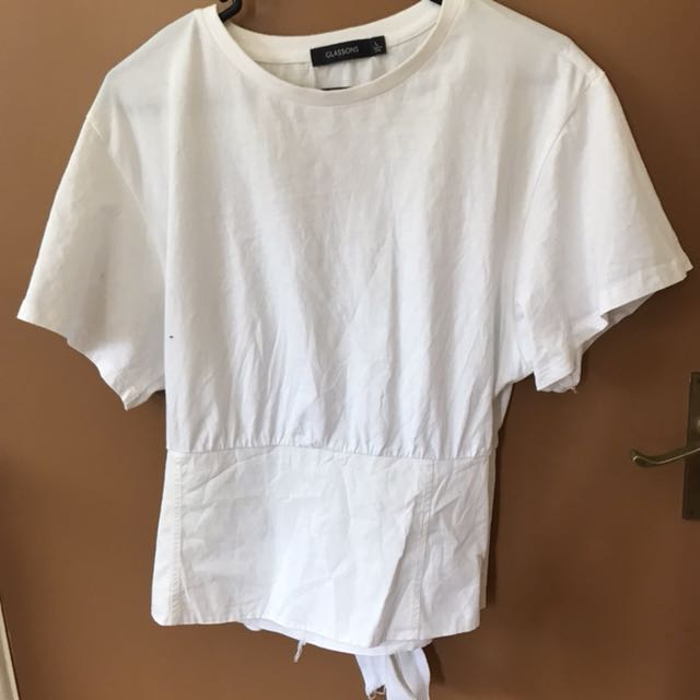 Glassons White Sinched Waist Tshirt