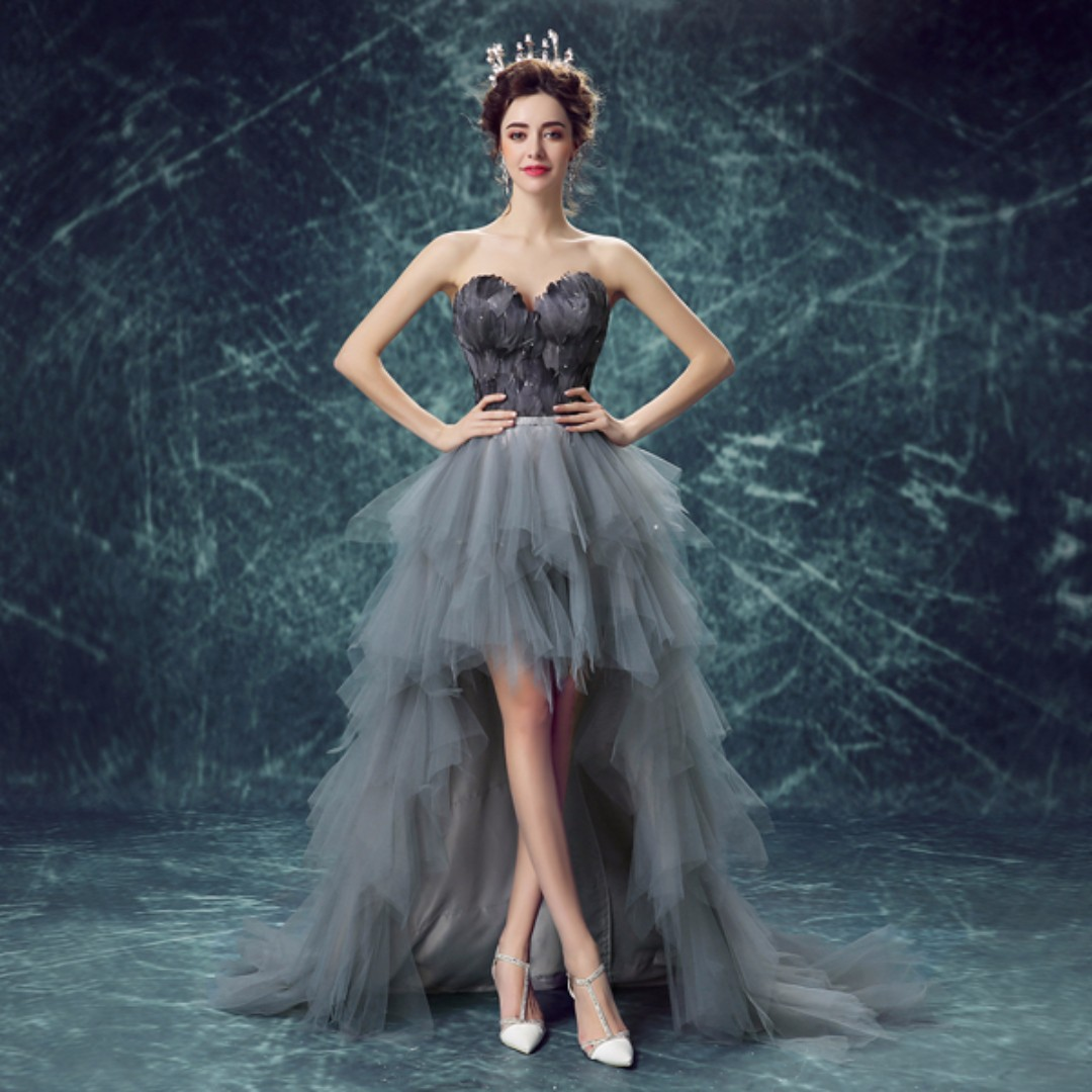 Gown Collection - Black Feather Design Tube Style Evening Gown