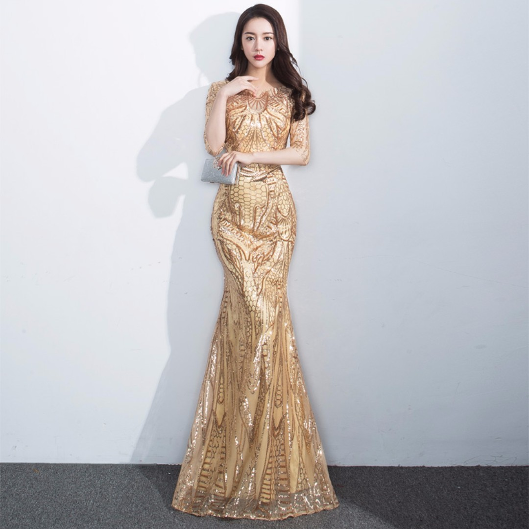 Gown Collection - Noble Mid Length Sleeves Bling Bling Mermaid Gown