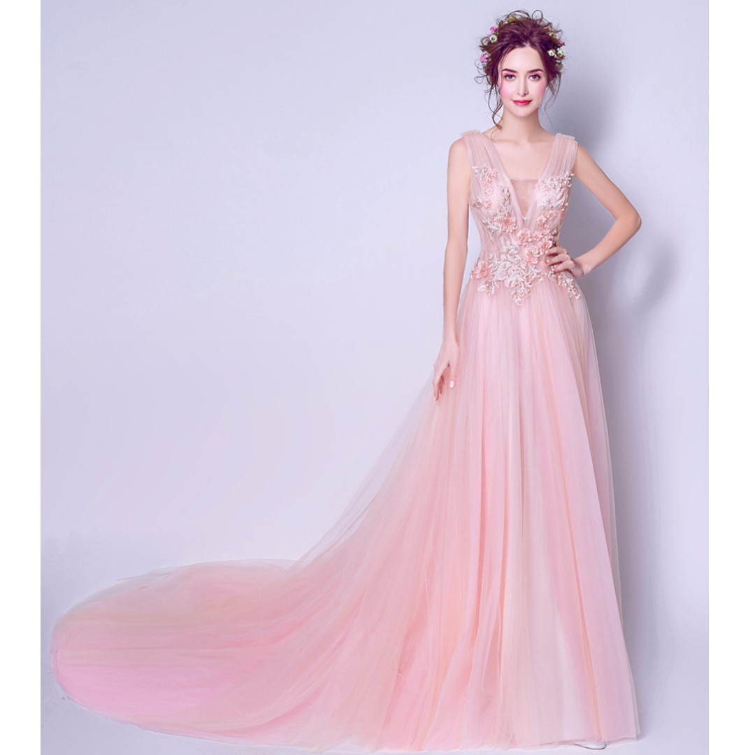 Gown Collection - Sleeveless Lace Fairy Deep V Pinky Evening Gown