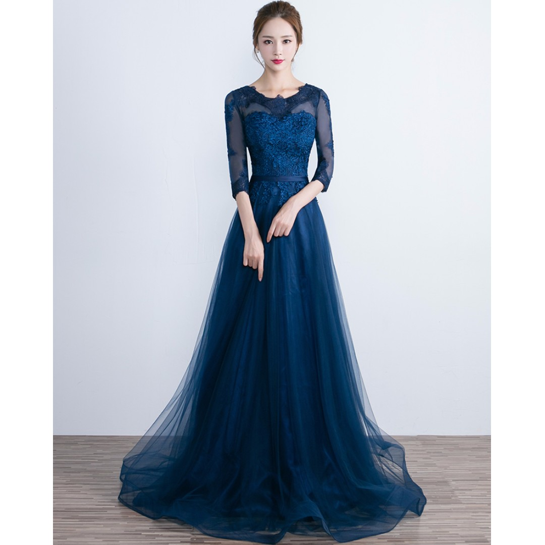 Gown Collection - Sweet Lace Long Sleeves Dinner Gown