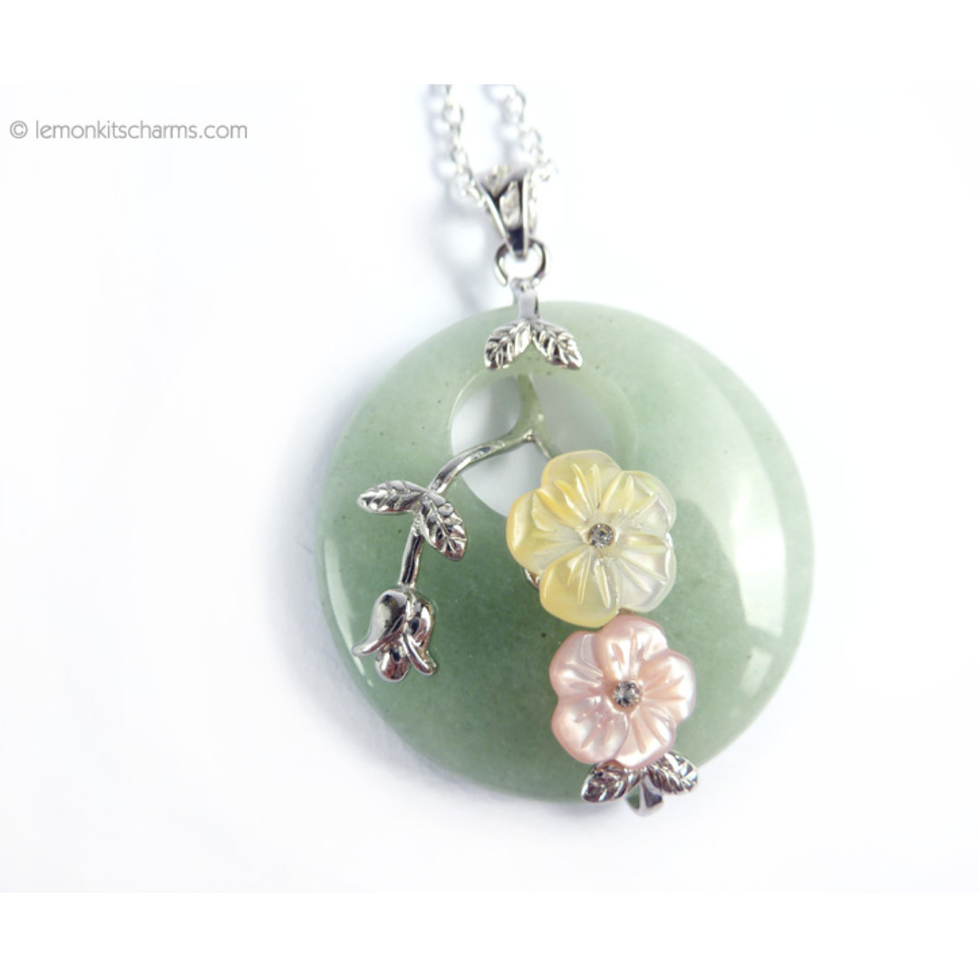 Green Aventurine Gemstone Pendant Necklace, nk1024-c