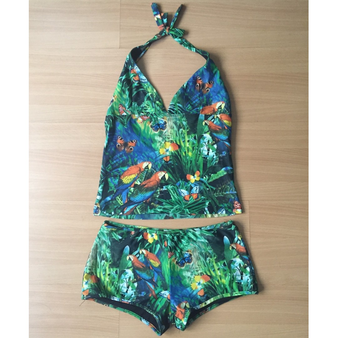 Green Swimsuit Top and Bottom by Island Shop (Authentic)