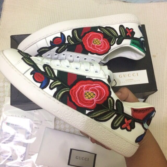 bff10a102 Gucci Ace Embroidered Sneaker white Shoes Authentic, Women's Fashion ...