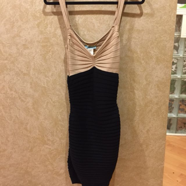 Guess Marciano Silk Beige Black Bandage Ribbed Bodycon Dress S