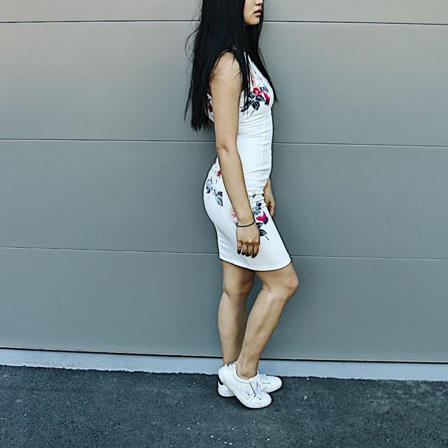 Halter neck white with floral details dress